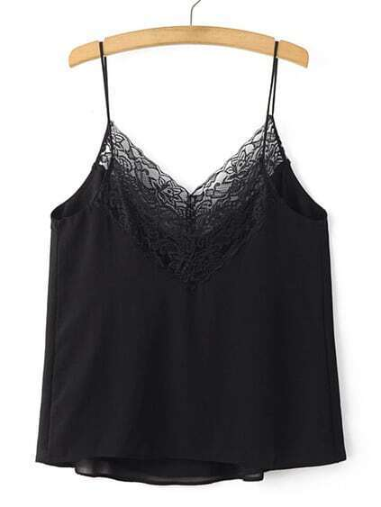 Black V Neck Spaghetti Strap Lace Chiffon Cami Top