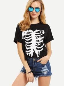 T-shirt imprimé manche courte -noir