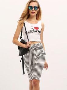 Black White Striped Tie Waist Bodycon Skirt