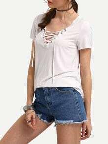 T-shirt manche courte lacé sur le devant -blanc