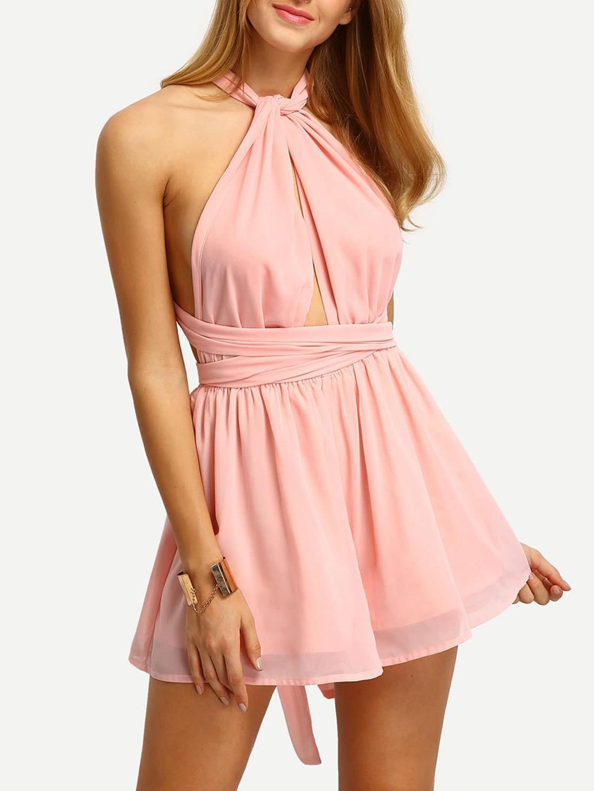 淡粉紅色 可變換的 肩帶 透明薄紗 連身服飾