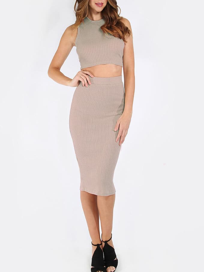 Apricot Mock Neck Ribbed Top With Skirt