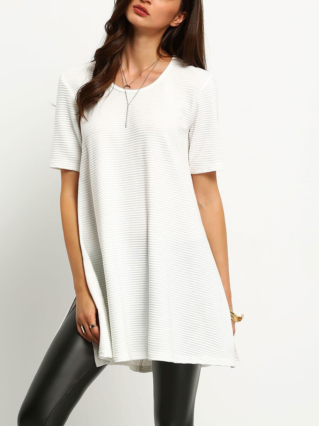White Ribbed Side Slit T-Shirt