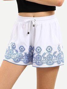 White Embroidered Drawstring Waist Shorts