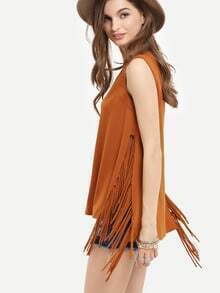 Coffee Sleeveless V Neck Tassel T-shirt
