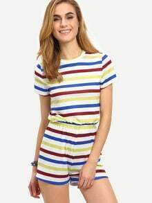 Multicolor Short Sleeve Striped Jumpsuit