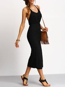 Black Slim Racerback Slit Dress