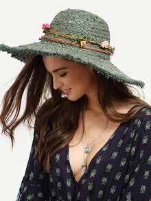 Green Collapsible Flower Large Brimmed Hat