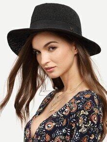 Black Vacation Letter M Large Brimmed Straw Hat