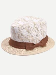 Sweet Bow Wide Brim Contrast Lace Hat
