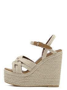 Apricot Peep Toe Buckle Braided Wedges