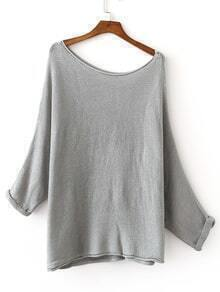 Grey Shoulder Drop Roll-up Cuff Knit Sweater