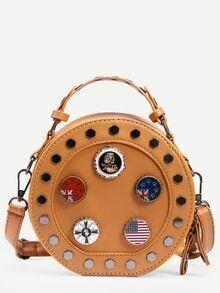 Brown Metal Charm Studded Round Bag