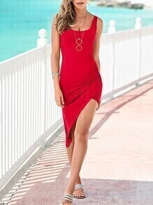 Red Ruched Asymmetric Tank Dress