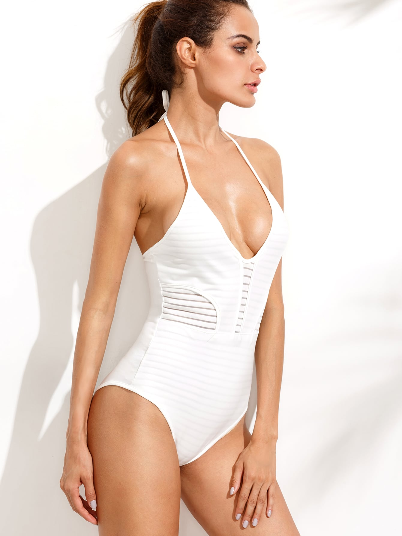 White Ribbed Halter Neck One Piece Swimwear RSWI160620125