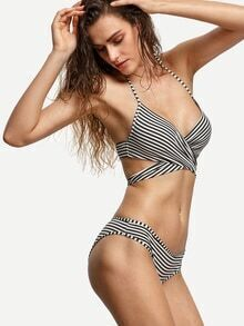 Black White Striped Cross Wrap Bikini Set