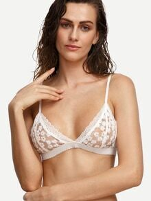 White Lace Trim Embroidered Mesh Bralet
