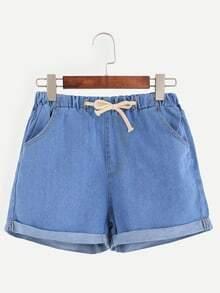 Blue Roll Hem Drawstring Denim Shorts