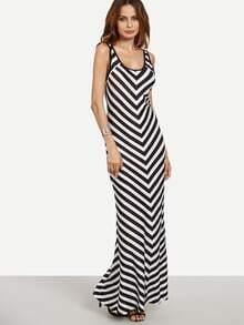 Black White Chevron Print Maxi Tank Dress