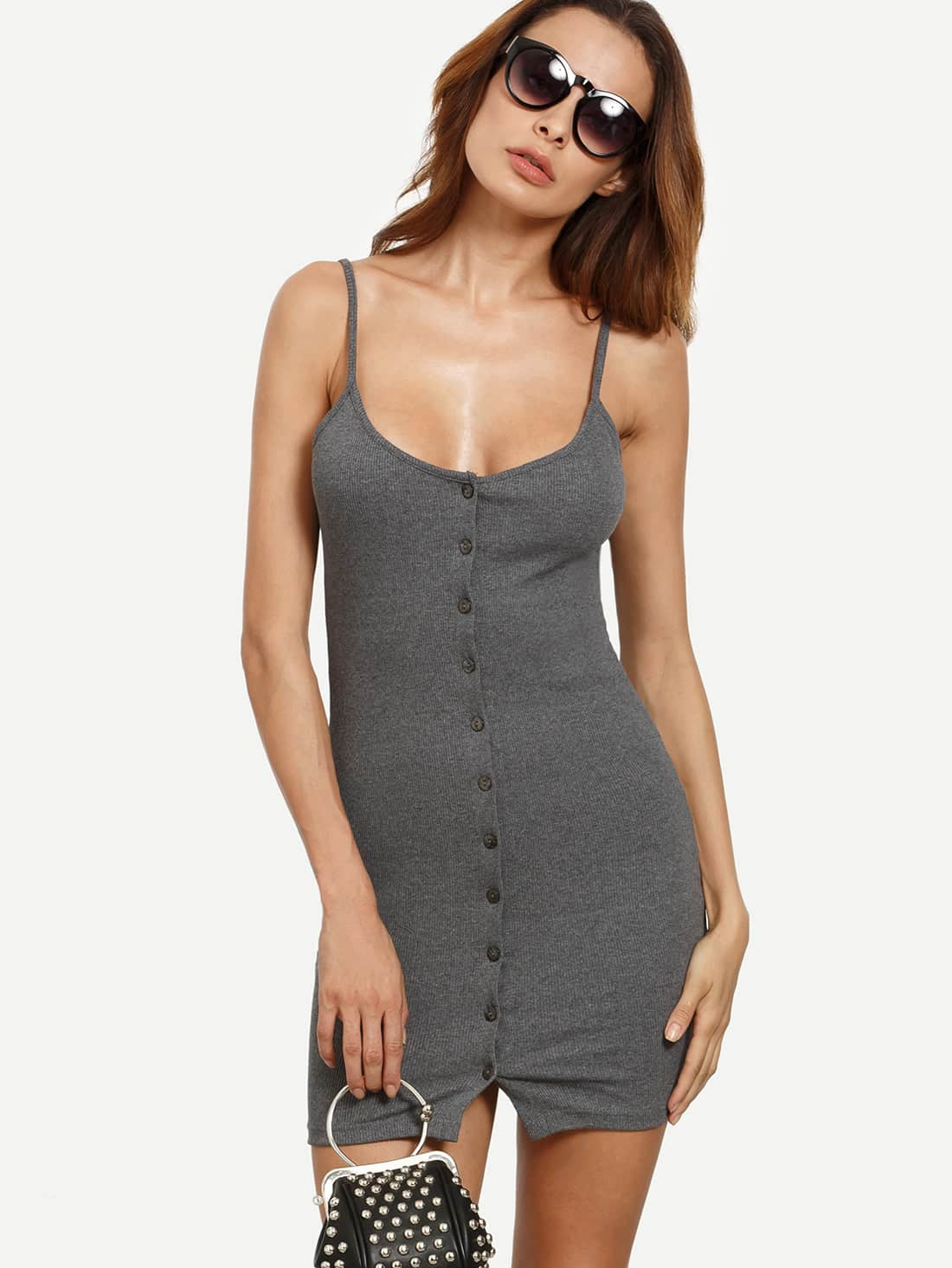 Grey Buttoned Front Ribbed Cami Dress