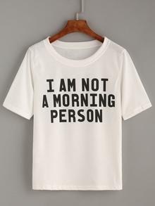 T-Shirt mit Buchstaben Druck - weiß