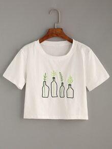 Camiseta planta bordada -blanco