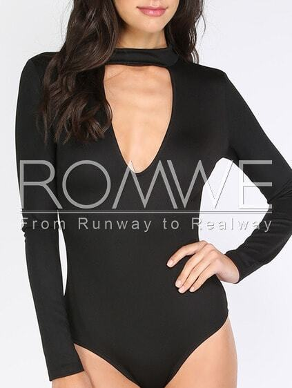 Black Hollow Long Sleeve Bodysuit