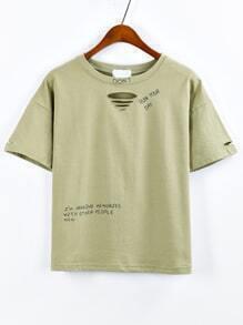 T-Shirt mit Buchstaben Druck - olivgrün