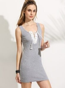 Grey Lace Up Ribbed Tank Dress