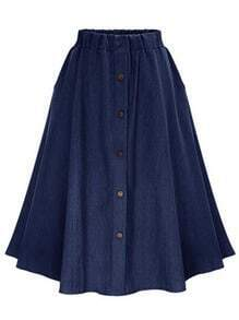 Navy Elastic Waist Denim Flare Skirt With Buttons