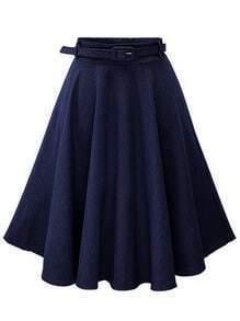 Navy Denim Flared Mid Skirt With Belt