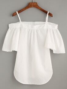 White Cold Shoulder Ruffle Sleeve Top