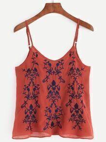 Brick Red Embroidered Lattice Back Cami Top