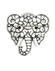 Silver Plated Cute Elephant Shape Brooch