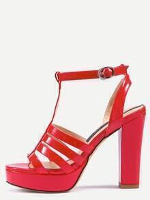 Buy Red Peep Toe T-strap Buckle Platform Chunky Sandals