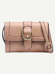 Apricot Buckled Strap Front Shoulder Bag