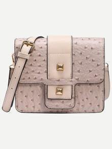 Apricot Faux Ostrich Leather Studded Strap Front Box Bag