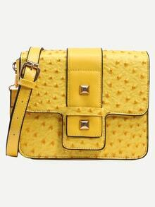 Yellow Faux Ostrich Leather Studded Strap Front Box Bag