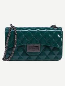 Green Faux Patent Leather Quilted Chain Bag