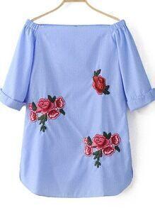 schulterfreies Kleid mit Streifen - blau