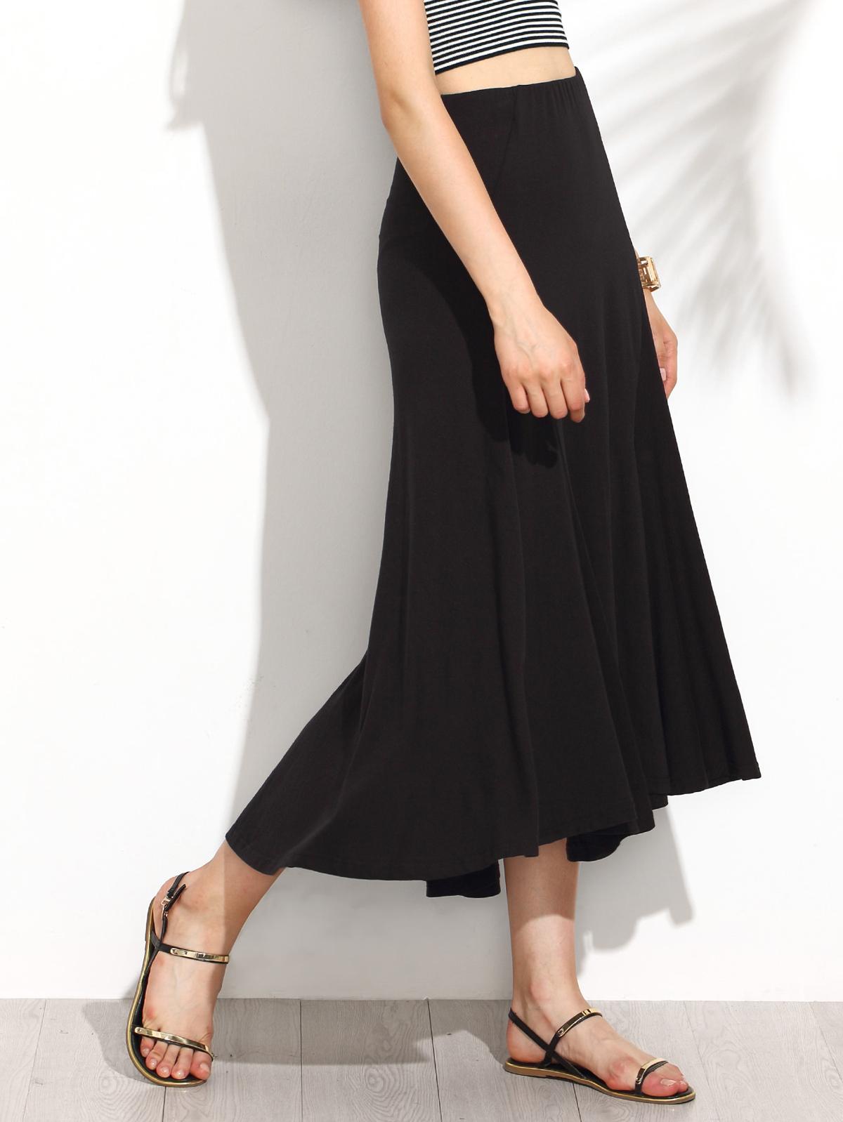 黑色 彈性腰 高低 打褶裙子