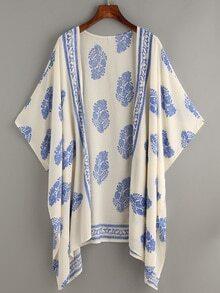 Kimono décontracté vintage imprimé - blanc cassé