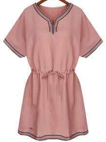 Pink Drawstring Dress With Embroidered Tape Detail