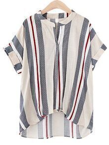 Multicolor Vertical Striped High Low Blouse