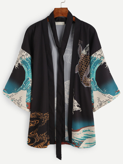 Spindrift And Carp Print Kimono With Belt