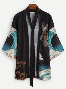 Kimono imprimé poisson et vague avec ceinture