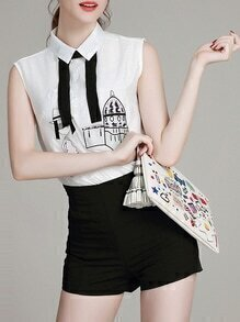 White Black Lapel Embroidered Top With Shorts