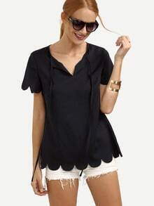 Navy Short Sleeve V Neck Blouse