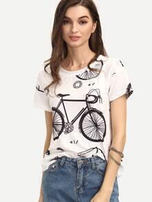 Kurzarm T-Shirt Rundhals mit Druckmuster lässig