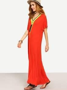 Red V Neck Short Sleeve Shift Maxi Dress